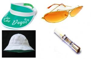 Fear and Loathing in Las Vegas White Hat, Green Visor, Sunglasses and Cigarette holder set